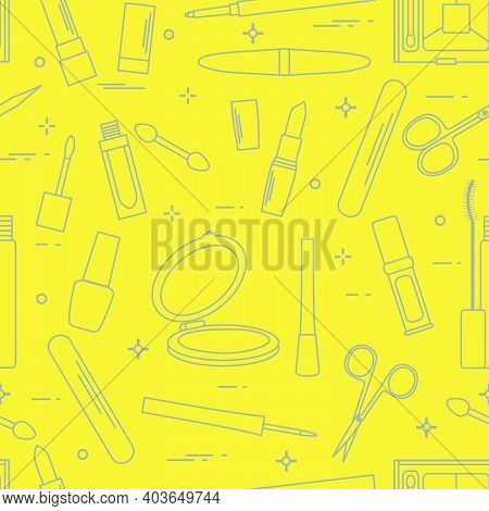 Seamless Pattern Of Decorative Cosmetics, Accessories For Nail Care. Glamour Fashion Vogue Style. Il