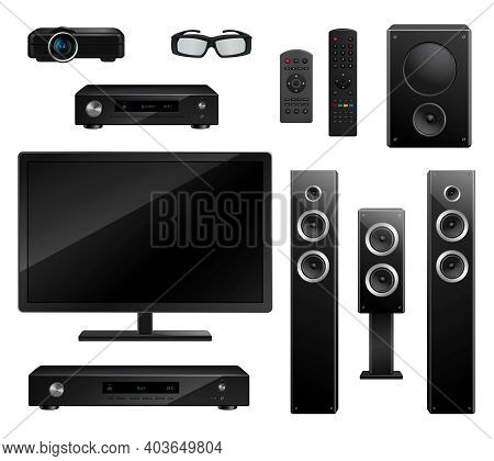 Realistic House Appliances Set With Tv Camera 3d Glasses Musical Speakers Dvd-player Remote Isolated