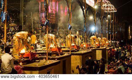 Varanasi, India - May 06, 2019 - Varanasi Ganga Aarti Rituals At Dashashwamedh Ghat Performed By You