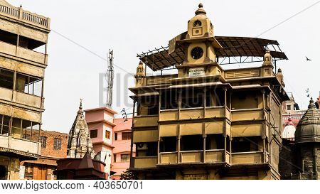 Varanasi, India - May 06, 2019 - The Famous Manikarnika Ghat Where Dead Bodies Are Cremated. Thousan