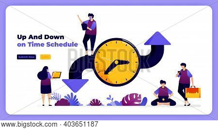 Schedule And Adjust Time In Organizing Events, Meetings And Agendas. Vector Illustration For Landing