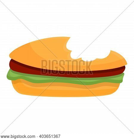 Bitten Hamburger Icon. Cartoon Of Bitten Hamburger Vector Icon For Web Design Isolated On White Back