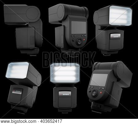 Camera External Flash Speedlight Isolated On Black Background With Clipping Path. 3d Rendering And I