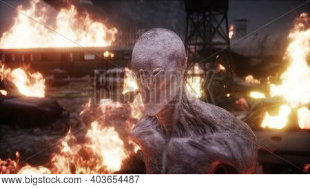 Alien, Monster In A Burning Ruined Apocalyptic City. Armageddon View. Realistic Fire Simulation. 3d