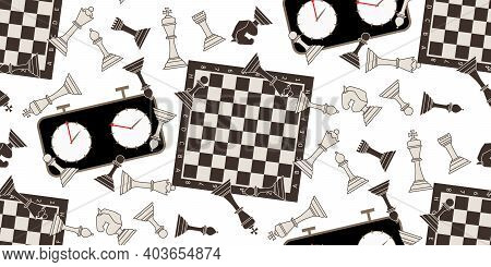 Seamless Pattern With Chess Pieces. Monochrome Flat King, Queen, Bishop, Knight, Rook, Pawn, Chess B