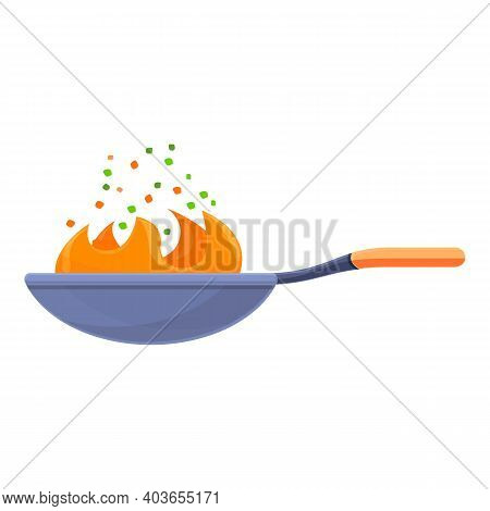 Fire Wok Pan Icon. Cartoon Of Fire Wok Pan Vector Icon For Web Design Isolated On White Background