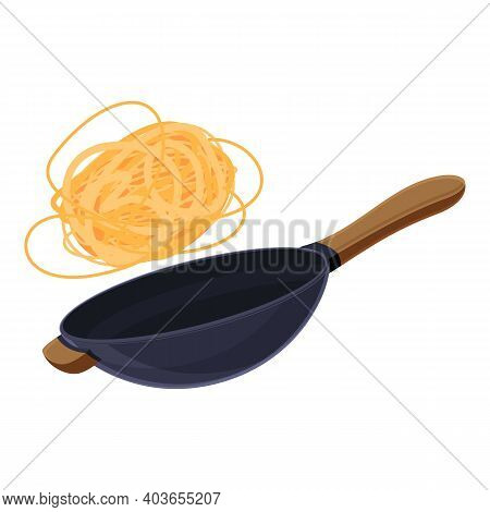 Noodles Wok Pan Icon. Cartoon Of Noodles Wok Pan Vector Icon For Web Design Isolated On White Backgr