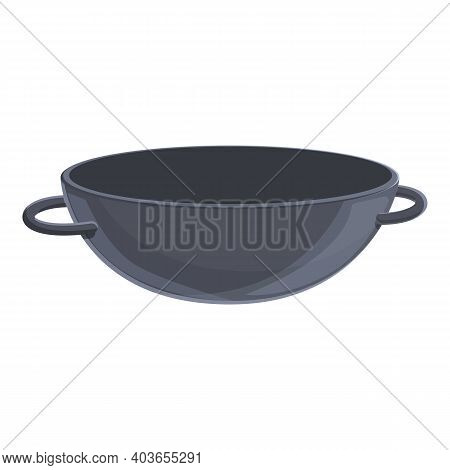 Empty Wok Pan Icon. Cartoon Of Empty Wok Pan Vector Icon For Web Design Isolated On White Background