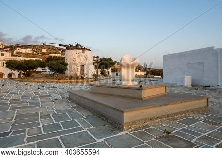 Ios, Greece - September 21, 2020: Marble Sculpture In Chora Of Ios Island, A Greek Island In The Cyc