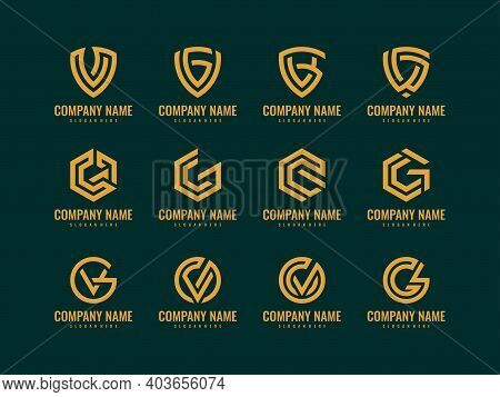 Set Of Abstract Letter Vg Or Gv Logo Design Template. Creative Elegant Vector Sign Design For Corpor