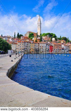 ROVINJ, CROATIA, 19 SEPTEMBER 2020: Touristic view of the resort of Rovinj, Istrian Peninsula, Croatia, Europe