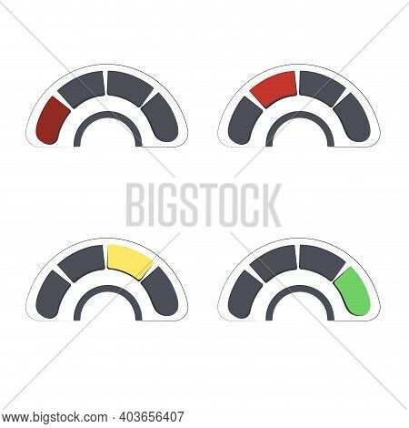 Set Of Credit Score Bad Normal And Well. Indicator Score Bad Rating, Good And Poor Rate To Get Loan,