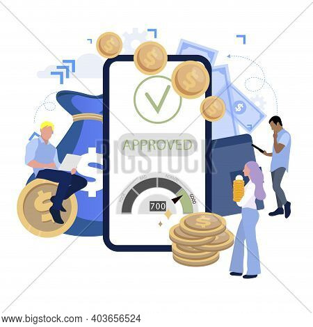 Approved Loan, Bank Application To Get Immediately Credit Cash. Report And Agreement In Mobile Banki
