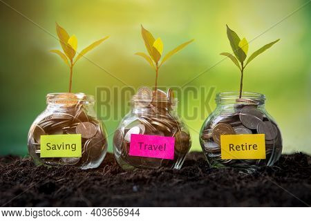 Plant Growing In Coins Glass Jar On Dry With Investment  For Travel Retire Saving Paper Label For Mo