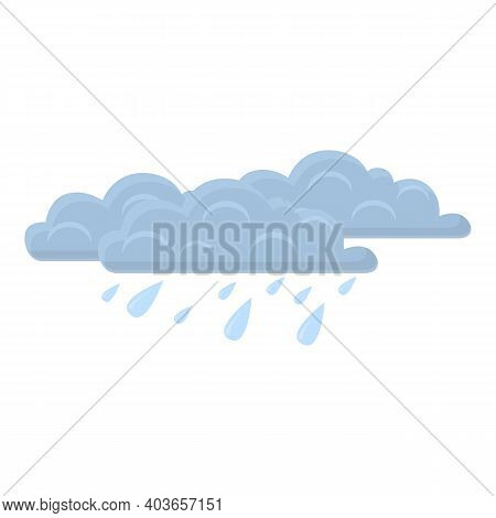 Overcast Rain Icon. Cartoon Of Overcast Rain Vector Icon For Web Design Isolated On White Background
