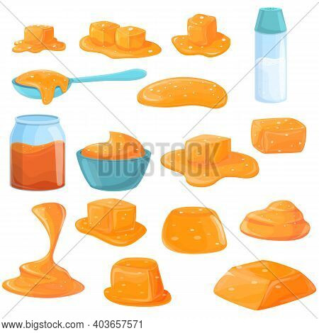 Salted Caramel Icons Set. Cartoon Set Of Salted Caramel Vector Icons For Web Design