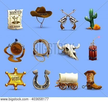 Wild West Realistic Icons Set With Cowboy Hat Dynamite And Cactus On Blue Background Isolated Vector