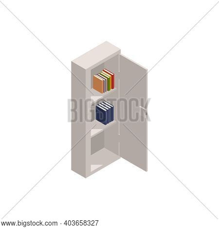 Metal Safe With Books In It Isometric Icon 3d Vector Illustration