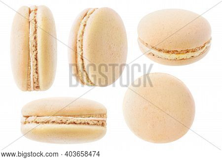 Isolated Macarons Collection. Caramel Macaroon At Different Angles Isolated On White Background
