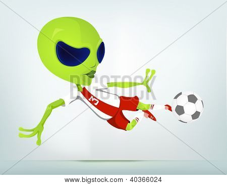 Cartoon Character Funny Alien Isolated on Grey Gradient Background. Soccer. Vector EPS 10.