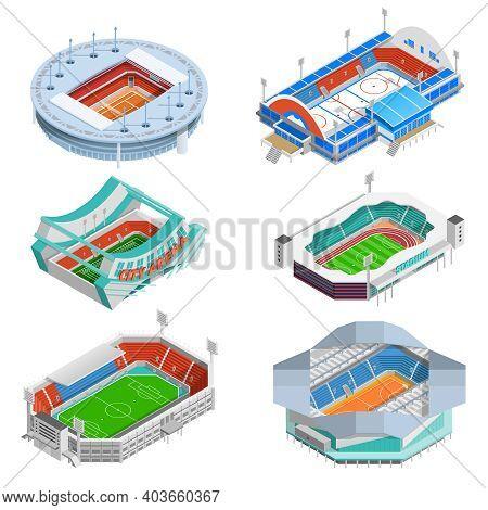 Sport Stadium Isometric Icons Set With Football And Hockey Stadiums Isolated Vector Illustration