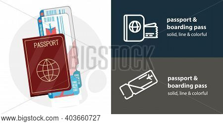 Passport With Boarding Pass Ticket Flat Icon, With Boarding Pass Simple, Line Icon