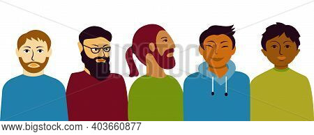 Multi Ethnic Group Men. Male Different Characters
