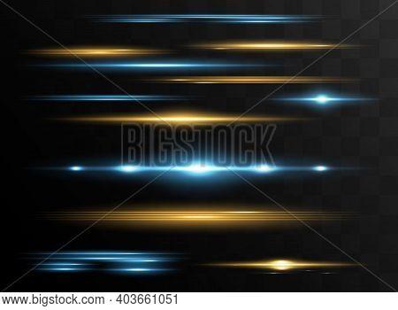 Red Horizontal Lens Flares Pack. Laser Beams, Horizontal Light Rays. Beautiful Light Flares.