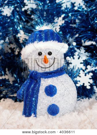 Glass Snowman In Blue
