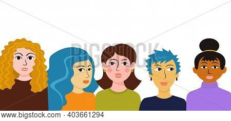 Multi Ethnic Group Women. Female Different Characters