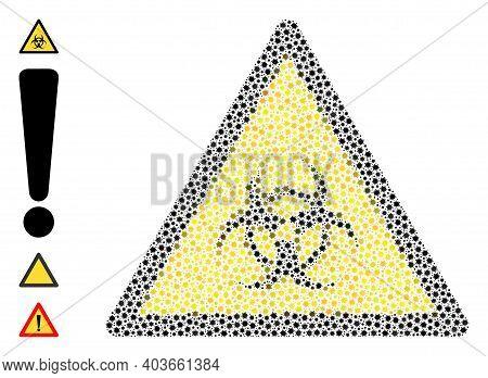 Vector Biological Hazard Warning Icon Coronavirus Composition. Biological Hazard Warning Mosaic Is D