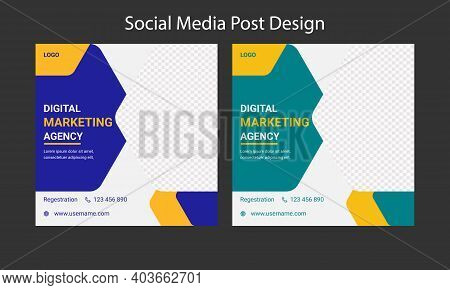 Social Media Post Template Design For Digital Marketing  Agency. Editable Promotion Corporate Web Ba