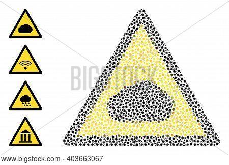 Vector Fog Warning Icon Coronavirus Mosaic. Fog Warning Mosaic Is Made From Tiny Coronavirus Pathoge