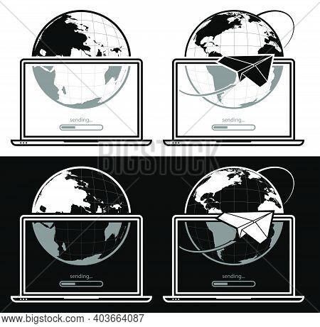 Open Laptop With Symbol Of Sending Email And Data To Internet. Sending And Downloading Information O