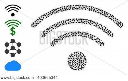 Vector Wi-fi Source Icon Covid-2019 Composition. Wi-fi Source Mosaic Is Formed With Small Covid Vira