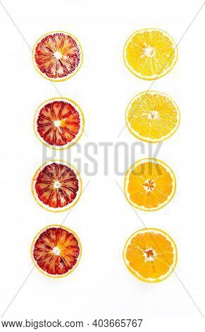Red And Yellow Sicilian Oranges Cutaway Top View Isolate On White