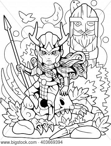 Cute Valkyrie Sitting On A Skull, Coloring Book, Funny Illustration