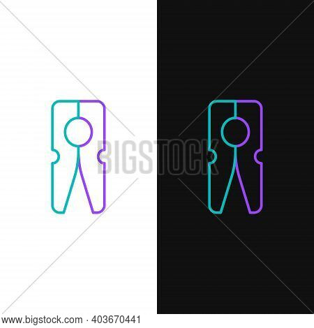 Line Old Wood Clothes Pin Icon Isolated On White And Black Background. Clothes Peg. Colorful Outline