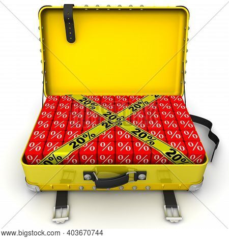 Suitcase Filled With Discount Of 20%. Open Yellow Suitcase Full Of Cubes With White Percent Signs An