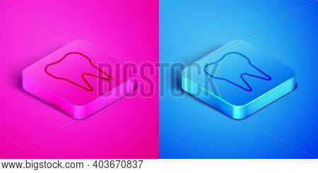 Isometric Line Tooth Icon Isolated On Pink And Blue Background. Tooth Symbol For Dentistry Clinic Or