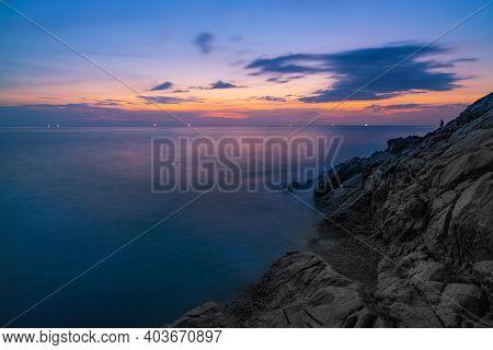 Beautiful View Of Sunset Or Sunrise Seascape In Nature Composition,majestic Twilight Cloudscape.