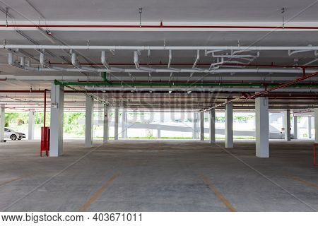 Empty New Parking Garage Underground Interior In Apartment Or Business Building Office And Supermark