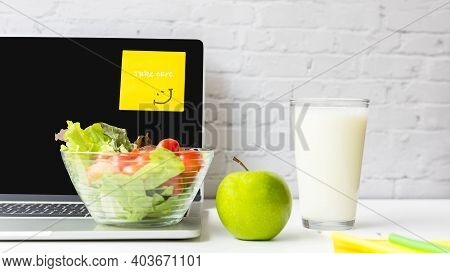 Healthy Snack With Working In The Office.  Green Apple And Fresh Salad With Milk For Diet Health Lif