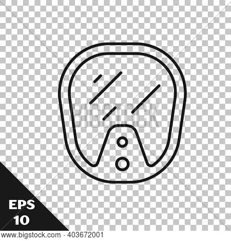 Black Line Diving Mask Icon Isolated On Transparent Background. Extreme Sport. Diving Underwater Equ