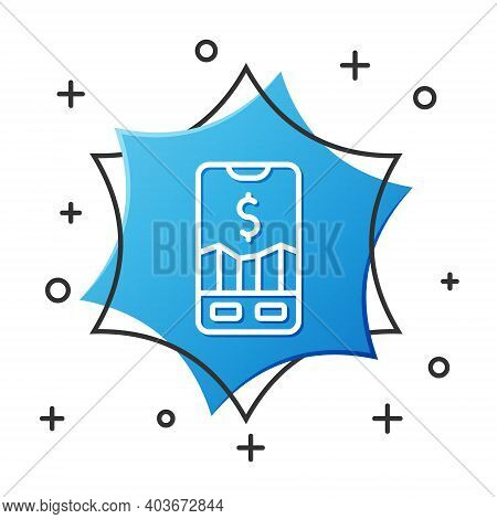 White Line Mobile Stock Trading Concept Icon Isolated On White Background. Online Trading, Stock Mar