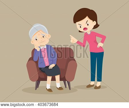 Angry Woman Scold To Sad Elderly. Aggressive Woman Screams At A Scared Elderly Woman. Stop Domesic A