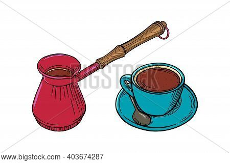 Coffee Cup With Cappuccino And Turkish Pot. Engraved Sketch Set Of Coffee Mug And Pot. Vector Illust
