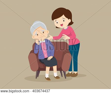 Sad Elderly Woman Bored, Sad Senior Woman Sitting And Woman Comforting Upset Her,mother Consoling Gr