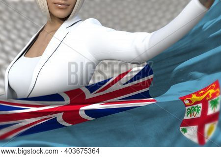 Sexy Business Lady Is Holding Fiji Flag In Front Of Her On The  Modern Architecture Background - Fla