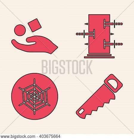 Set Hand Saw, Cube Levitating Above Hand, Trunk For Magic Tricks And Spider Web Icon. Vector